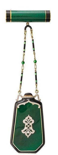 Suite; Art Deco, Tiffany & Co, 14K Gold & Platinum, Compact & Lipstick, Emerald Green & Black Enamel, Rose Cut Diamond, Fetter Link Chain, 6 inch.