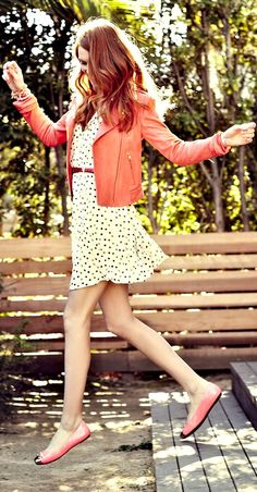 Polka Dots + Pink Leather = Back to School Chic  POLKA DOTS!  Fave
