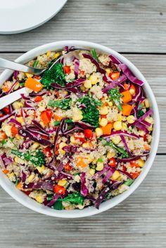 Rainbow Quinoa Salad with Tahini Ginger Dressing #rainbow #recipe #vegan #quinoa #glutenfree