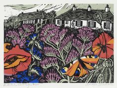 Watch Cottage by Annie Soudain ~ linocut and collage print, Avocet Gallery Garden Painting, Painting & Drawing, Textile Prints, Art Prints, Collages, Annie, Linocut Prints, Print Artist, Woodblock Print