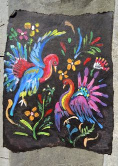 my first ever sample of painting on roofing felt Ah, fabulous roofing felt! (You may think of it as tar paper.) After saving (on Pint. Painting Lessons, Art Lessons, Art Club Projects, 8th Grade Art, Art Cart, Roofing Felt, Middle School Art, High School, Painting Collage