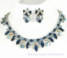 Weiss Blue Rhinestone Necklace & Earring Set Ebay Store: Vintage Jewelry Treasures SOLD