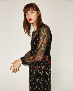 Image 2 of LONG FLORAL EMBROIDERED DRESS from Zara