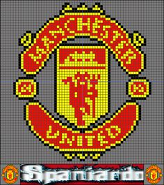 Team Badges and Logos VII - Winning Eleven: Pro Evolution Soccer 2007 Hama Beads Patterns, Beading Patterns, Kandi Patterns, Knitting Charts, Knitting Patterns, Manchester United Badge, Logo Club, Plastic Canvas Ornaments, Mittens Pattern