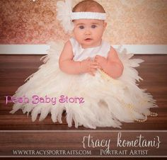Sweet Pure Heaven Ivory Full Feather Baby Girls Dress
