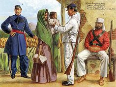 The Mexican Adventure: Uniforms: Republican Army Engineer Officer, 1863-67 2. Private, Line Infantry, 1856-69 3. Private, 2nd Morelos Bn., National Guard, 1863