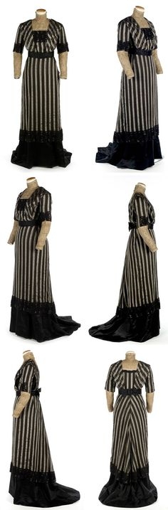 Day dress, ca. 1905-10. Doubled-sleeved, black & silver striped wool and silk gauze. Tunic has high collar w/seafoam green piping. Collar, shirtfront, & tight undersleeves are cream netting embroidered w/bronze metallic thread & taupe sprigs & cream silk underlay. Wide oversleeves extend from underneath shoulder knife pleats to elbow. Skirt has floral appliqué pattern along hemline w/black braid from which black silk satin underskirt with slight train trails. Indiana State Museum