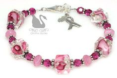 Swarovski Crystal Pink Ribbons Breast Cancer Awareness Bracelet (B092) by Crystal Allure