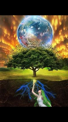 The tree of life is a common motif in various world theologies, mythologies, and philosophies. It alludes to the interconnection of all life and creatio. Gaia Tree of Life Gaia, Secrets Of The Universe, Nova Era, Diamond Paint, Divine Mother, Angel Cards, Cool Paintings, Tree Of Life, Mother Earth