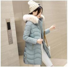 Winter Women Parkas New Fashion Hooded Thick Warm Medium long Down Cotton Jacket Long sleeve Slim Big yards Coat LADIES270