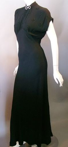 1930s evening gown, beaded bodice, slit back...DCV archives
