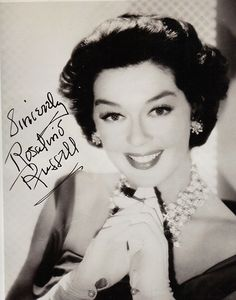 Superbly glam shot of Rosalind Russell, who was often on the best dressed list in the fifties and sixties. While never seen as a classic beauty- she could glow on camera with the best of them.