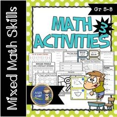 Math Activities Packet 3 includes 12 various math activities for your classroom. $ gr 5-8