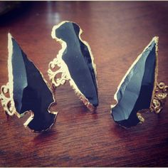 OBSIDIAN 24k gold plated Arrowhead Rings by LuvByTheMoon on Etsy, $52.00