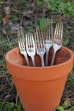 Herb Garden Markers  Set of 5 by LazyLightningArt on Etsy, $20.00