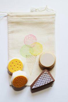 Ice cream rubber stamp set - talktothesun