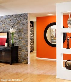 Orange Design Ideas | Gold sunburst mirror, Orange walls and ...