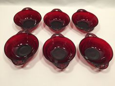 Anchor Hocking Coronation Royal Ruby Fruit Dessert Bowls Set of 6 #AnchorHocking