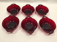 Anchor Hocking Coronation Royal Ruby Fruit Dessert Bowls Set of 6 #AnchorHocking