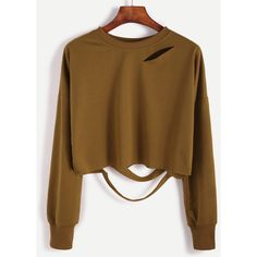 Khaki Drop Shoulder Cut Out Crop T-shirt ($7.99) ❤ liked on Polyvore featuring tops, t-shirts, khaki, long sleeve stretch top, long sleeve cutout top, cutout tops, cut-out tops and drop shoulder tops