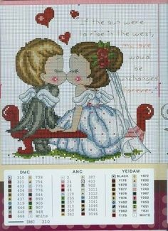 quilting like crazy Cross Stitching, Cross Stitch Embroidery, Cross Stitch Silhouette, Modele Pixel Art, Wedding Cross Stitch Patterns, Cross Stitch Love, Needlepoint, Crochet Patterns, Quilts