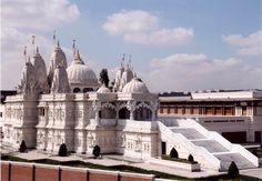 Neasden Hindu temple, near  London. It is said to be the largest Hindu temple outside of India