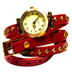 Brigitte Wrap Watch Leather Bracelet Fushia