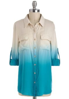 Live and Let Dip Dye Top in Turquoise - Buttons, Pockets, Long Sleeve, Sheer, Mid-length, Blue, Tan / Cream, Tie Dye