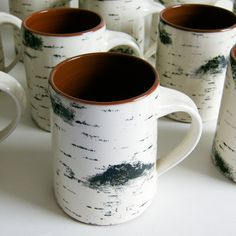 These birch bark coffee mugs are designed to look just like a chunk of birch tree, and is the perfect gift idea for an outdoorsy coffee drinker Designed by Maria Holmberg, a Swedish pottery designer, - pencil-drawings Birch Bark, Birch Trees, Birch Tree Decor, Wood Bark, Cute Mugs, Pretty Mugs, Ceramic Pottery, Ceramic Mugs, Decoration
