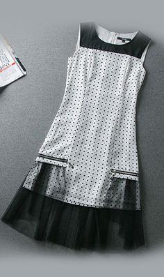 Sleeveless spot mesh dress 8237 White