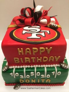 Cake - without bow for Logan's birthday - Fabienne 49ers Birthday Party, Happy Birthday Football, Birthday Cake, Birthday Bbq, Birthday Ideas, Birthday Cookies, 49ers Cake, Cake Story, Pinterest Cake