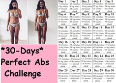 Perfect Abs 30 day challenge is designed to workout your abs for a whole month, . Perfect Abs 30 day challenge is designed to workout your abs for a whole month, melting away belly fat and giving you a sexy, toned look for the beach! Home Exercise Program, Home Exercise Routines, Workout Programs, At Home Workouts, Circuit Workouts, Workout Tips, Month Workout Challenge, 30 Day Ab Challenge, Perfect Abs