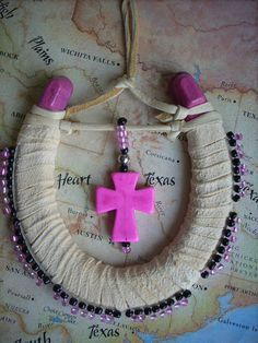 Hot Pink and Black beaded Horse Shoe .