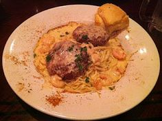 New Orleans Crab Cakes with Shrimp Alfredo Sauce over Angel Hair Pasta