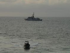 French Marine Nationale Type 69 anti submarine frigate FS Premier maître L'Her (F 792), sends out a boarding party during an anti piracy exercise off coast of Gabon 4 November 2013, during Operation Corymbe. Semi permanent French presence in the Gulf of Guinea, on anti piracy patrols.