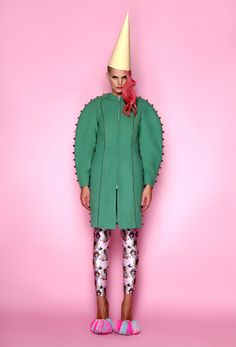 Pea green studded coat, pink printed leggings & pom pom shoes ANA LJUBINKOVIC f/w 2012/13 ana ljubinkovic  pastel clown kitsch pompom dress pink hair lookbook coat studs