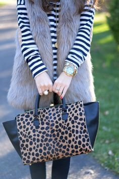 Stripes + Animal Print Done Right