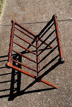 Vintage-Mid-Century-Faux-Bamboo-X-Base-Magazine-Rack-Holder-Rack-Stand