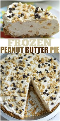 Frozen Peanut Butter Pie is cold and creamy and nearly no-bake so it's the perfect treat for a hot summer day! Filled with chunky peanut butter, cream cheese, and chocolate chips in a graham cracker crust. | www.persnicketyplates.com