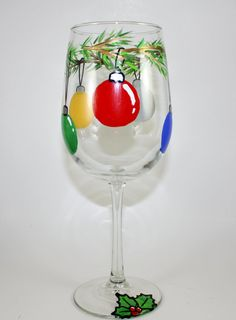 Festive Ornament Wine Glass Hand Painted by ImpulsiveCreativity