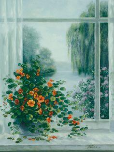 A. Heins: Kapuzinerkresse am Fenster - Kunstdruck auf Holzfaserplatte 79 x 57 cm X169752