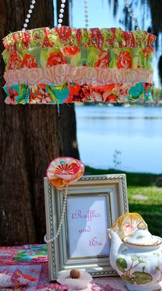 covered lamp shade from 2 Giggle Boxes: girls