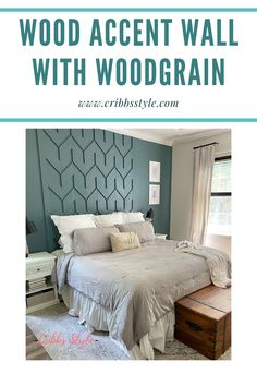 Creating another amazing wood accent wall that doubles as a headboard. Super easy and super stylish. #Cribbsstyle #woodaccentwall #woodwall #woodgrain #homedepot