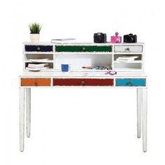 Bureau harlekin wit,  een leuk, vrolijk en stimulerend bureau