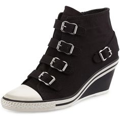 Ash Genialbis Buckled Wedge Sneaker (5,980 DOP) ❤ liked on Polyvore featuring shoes, sneakers, black shoes, ash sneakers, buckle wedge sneakers, grip trainer e wedge sneakers