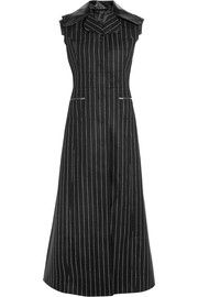 Maison Margiela Leather-trimmed pinstriped wool and angora-blend vest