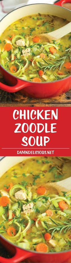 Chicken Zoodle Soup - Just like mom's cozy chicken noodle soup but made with zucchini noodles instead! So comforting AND healthy! 227.3 calories per serving.
