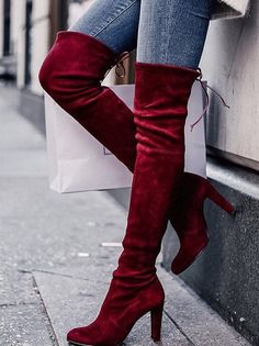 """Style : Thigh High Boots Heel Height : 3 1/4"""" Condition : New in Box Main Color : Vino(wine) Main Material : Man-made Material Fit : Slightly Small to size Size 6 and Size 10 measurements Size 6 Shaft"""