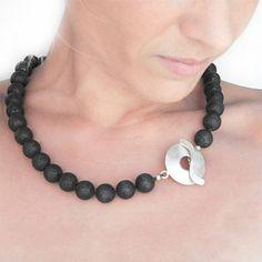 Necklace  Lava Rock and Silver Santorini Necklace by SunSanJewelry