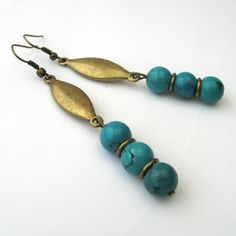 Natural Turquoise and Bronze Earrings £7.95